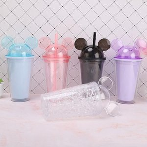 Cartoon Mouse Ear Tumblers Colorful Double Wall Water Bottle With Straw and Lid Cup Milke Coffee Mug Kids Girls HHA1371