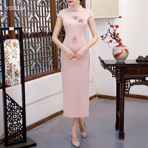 New Chinese Women Solid Cheongsams Dress Gril fashion 3D Embroidery Qipao Dresses Vestidos S M L XL XXL 3XL Party Evening dress