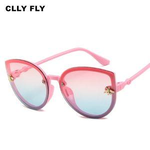 أطفال عين القط النظارات الشمسية خمر الاطفال Steampunk الذهب نحلة الطفل الصيف نظارات لطيف بنين بنات نظارات العلامة التجارية