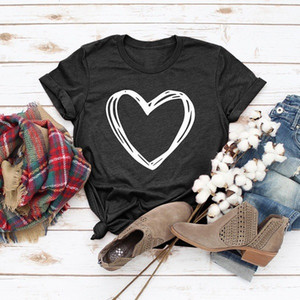 Free Shipping Sweet Doodle Love Double Love Polyester Cotton Short Sleeve Round Neck T-Shirt Top