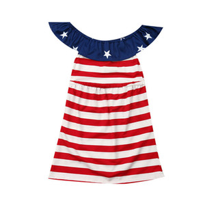 Bébé Enfants Filles Party Dress Independence Day drapeau national Robes Sundress Etats-Unis