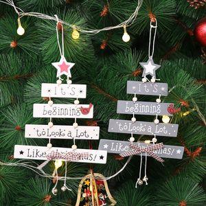 Arbre de Noël en bois Pendentifs Décorations de Noël en bois Cloche Ornements de Noël Nouvel An Hanging Navidad Porte Décor Pendentifs BH0196 TQQ