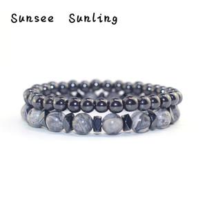 Jóias de 2019 Cuidados de Saúde Terapia Natural Pedra hematita Magnetic Bracelet Preto Beads estiramento Hematite Bracelet Bangle Men