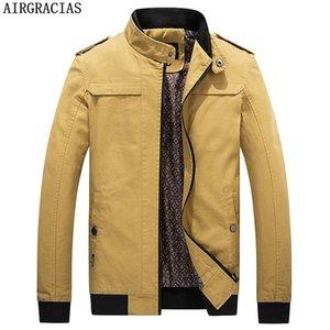 AIRGRACIAS Inverno Bomber uomini 100% Cotton Jacket Abbigliamento uomo Giacche Mens del cappotto di marca dei vestiti tuta sportiva di formato 4XL