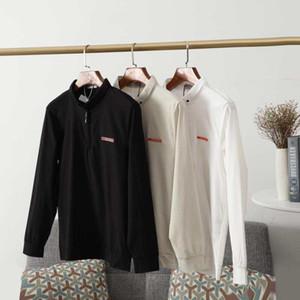 mens europeus polos luxo clássico T-shirt ocasional lapela carta OEM projeto importado Tencel textura tecido super de mangas compridas bottoming camisas