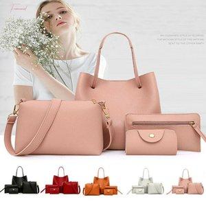4Pcs Fashion Womens Handbag Set Pu Leather Ladies Purse Solid Color Shoulder Messenger Bag Wallet Pouch Bags For Women 2020