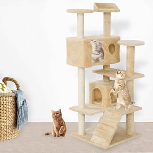 """New52 """"torre de escalada gato compartilhada gato ninho de gato agarrando ninho gatinho bordo pet jogo de gato bege"""