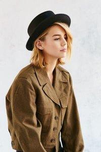 Retro Winter Wool Boater Flat Prok Pie Fedora Top Hat For Women's Men' Felt Bowkn Boho Feltro Gambler Sombrero Cap 25