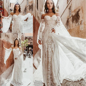 2020 Sexy Wild Heart Bohemian Mermaid Wedding Dresses with Long Sleeve Rue De Seine Vintage Crochet Lace Applique Country Bride Dress