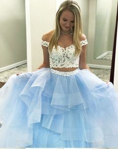 Lovely Ball Gown Ruffles Prom Evening Dresses two Pieces Off the shoulder white Lace Light Blue Cheap Formal Pageant Celebrity Dress Cheap