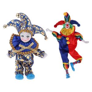 2 piezas de porcelana pintado a mano de la vendimia del payaso figurines, Antigüedades Colecciones de estilo victoriano, porcelana Arlequín muñecas ornamento de los artes