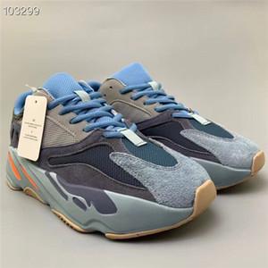 Nova liberação de carbono azul 700 V2 corredor da onda sapatas Running sapatilhas do desenhista Inércia Hospital azul Vanta Homens Mulheres Kanye West
