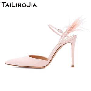 High Heel Pink Silk  Pointed Toe Women Pumps Woman Shoes Bird Hair Fur Wedding Party  Ladies Handmade Shoe Wholesale