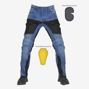 Été motocyclette Pantalons équitation Moto PANTALON Jeans Pantalons Motocross protective Racing Jeans avec 4 X genouillères de la hanche