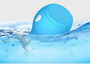 2017 Mini Whale Tail Floating IPX6 Waterproof Shower Portable Bluetooth Hifi Speaker with Sucker Phone Holder Stands led Light