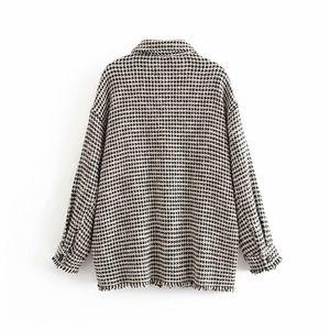 Elegant Tweed Plaid Blouse Women Pockets Long Sleeve Fashion Shirt Female Autumn Spring Tassel Loose Ladies Tops Blusa Feminina