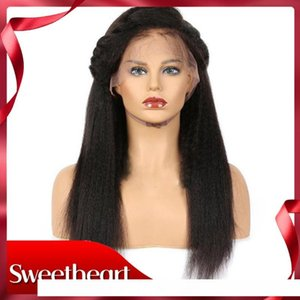 Full Lace Yaki Straight Hair Wig Lace Front Wigs with Baby Hair Kinky Straight Synthetic Lace Front Wig Heat Resistant Wigs for Women