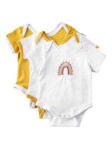 2020 Детская Летняя Одежда Новорожденной Девочки Вышивка Радуга Комбинезоны С Коротким Рукавом Боди Комбинезоны