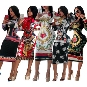 Womens Designer Vestido estiramento de luxo vestido de festa magro Designer Bata o desgaste lindo Multi-estilo Bodycon Floral Imprimir Mulheres Roupa do tipo