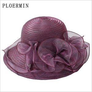 Ploermin органзы шлемов Sun женщин Flower Summer Wedding Caps Женский элегантный цветочный Uv Церковные Шляпы 2019 Новая мода aQePG
