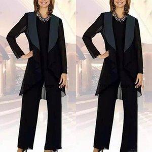 Pantalón azul marino oscuro azul de mamá adaptan a los juegos Señora fiesta por la noche con una larga chaqueta de la señora vestidos de noche de gasa madre de los trajes de novia Pant