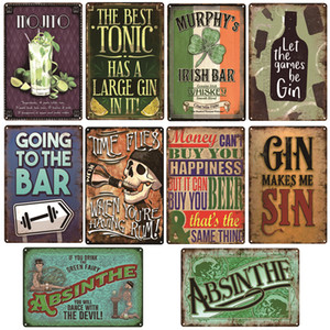 Beer Wine Cocktail Rum Metal Signs Bar Party Decor Vintage Tin Signs Club Home Wall Art Painting Decor Plaque Gin Poster