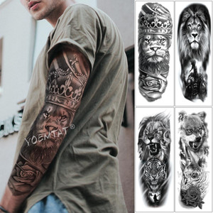 Grande Arm Sleeve Tattoo Lion Crown King Rose Waterproof Temporária Tatoo Etiqueta Wild Wolf Tiger Men completa Crânio Totem Tatto