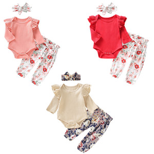 3 styles Baby Girl Toddler Long Sleeve Cotton Romper Tops+Floral Bow Trouser +Headband 3PC Set Baby Clothing Set LA68