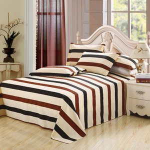 2018 New Fashion 100%Cotton Stripe Bed flat Sheet Set Gift Adult Queen King Twin full Size 3PCS sheet set pillowcase bedding