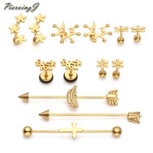wholesale 13Pcs Set Mixed style Stainless Steel Ear Stud Helix Cartilage Tragus Stud Earrings Piercing