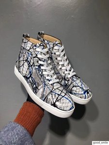 Graffiti Python Leather High Top Sneakers Shoes Women,Men Red Bottom Casual Party Leisure Flats Famous Dress Walking With Box EU35-46