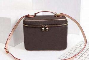 MARRONE Fiore in pelle da donna Cosmetic Pack Cosmetic Box da donna Nicb travel washing case M42265 tracolle a tracolla