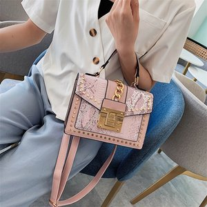 Small Brand Designer Woman 2020 New Fashion Messenger Crossbody Bag Chains Shoulder Bag Female Stud Snake Skin PU Handbag