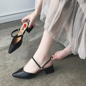 Unique2019 Xia Woman Sandals Zhonggen grueso con zapatillas Sharp Dawdler Slipper Baotou Back Air Shoes