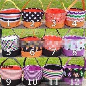 Trick or Treat Halloween Bucket Bucket de haute qualité sac fourre-tout pour Halloween cadeaux enfants bonbons toile panier EEA534