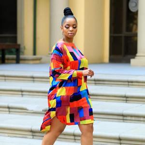 Autunno Designer Women Loose Dress Casul Abiti colorati stampati allentati Moda donna maniche lunghe abbigliamento