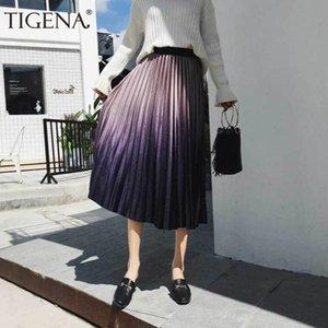 Tigena Gradient Velvet Midi Falda Larga Moda Para Mujer 2019 Otoño Invierno Vintage Elegante Elástico de Cintura Alta Falda Plisada Mujer Y19060301