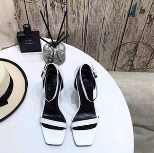 sandalias de diseñador-ed zapatos de la señora de París supermodelo de suela de goma hebilla de pasarela