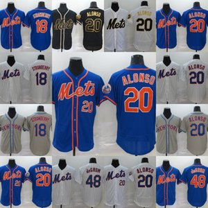 Erkek 20 Pete Alonso Jersey Beyaz Siyah Golden Edition 18 Darryl Çilek 48 Jacob deGrom Tüm Dikişli Beyzbol Formalar