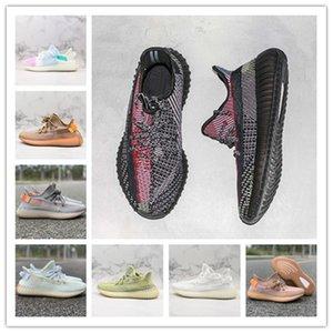 Kanye West Yecheil Kil Statik Refective Running Tasarımcı Hiperuzay Gerçek Formu Siyah Sarı Üst Kalite Casual Sneakers Womens Açık