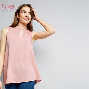 Seksi blusas Femininas şifon Bayan Polyester Giyim Şık Vintage Dişil Gömlekler Plus Size Zsiibo için Sleeveles Bluz Tops