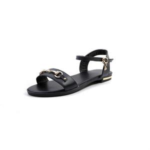 Glittery2019 Popular2019 40-4 sandali 31-33 Small Code Will Scarpa Vergine Porta fibbia metallica Fondo piatto Scarpe in pelle bovina