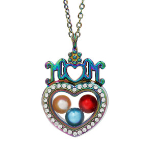 Magnetic Rainbow Color Love MoM Glass Living Memory Locket Pendant Pearl Cage Floating Charms Pendant Necklace With Steel Chain