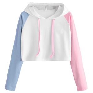 Ragazza delle donne Plus Size Long Sleeve Patchwork casuale Crop Jumper Pullover breve paragrafo Vita alta Tops ropa mujer # 10