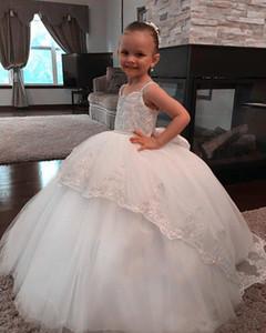 2020 Flower Girl Dresses For Weddings Ball Gown Tulle Lace Long First Communion Dresses Little Girl