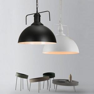 Industrial Vintage elegante Sombra de Metal luminária com Cadeia Black / White Modern 1 Luz Dome Hanging Lamp Armazém Lighting