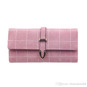 Women's Wallet Brief Frosted Plaid Women's Purse Fashion Three-folding Long Wallet Card Holder Large Capacity Purse Female
