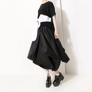 2019 Style coréen Femmes Solide Noir Long Eté Jupe Asymétrique Grande Taille Taille Élastique Femme Unique Casual Dress Femme F513