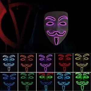 10 color V para Vendetta Máscaras LED resplandor máscara de Halloween máscara fiesta mascarada danza decorado máscaras T3I5261