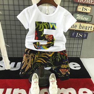 Summer boys suits 2020 new casual kids suits fashion boys clothing sets T shirt+Harlan shorts 2pcs set kids designer clothes boys B1404